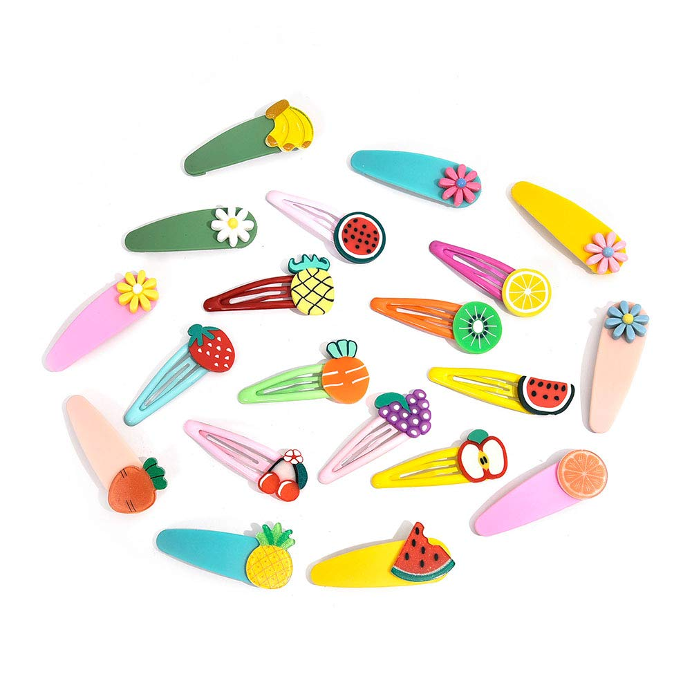 20 Pcs Cute Girl Hair Clips, Cuteduoer Flower Fruit Snap Hair Clip Accessories, Lovely Barrettes for Baby Girls, Kids, Toddlers, Teens (Candy Color) (fresh fruit)