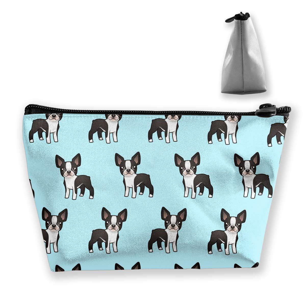 Lightweight Multi-Purpose Zipper Trapezoidal Storage Bag Organizer Pouch Small Cosmetic Makeup Bag Coin Cellphone Purse Pencil Pouch (Cute Boston Terrier)