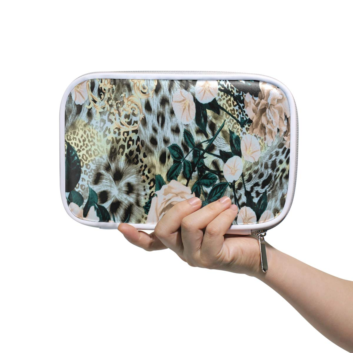 WXLIFE Animal Leopard Print Rose Multi-Functional Zippered Cosmetic Bags Travel Pouch Bag Makeup Passport Holder Storage Pencil Case Pen Bag for Kids Boy Girls School