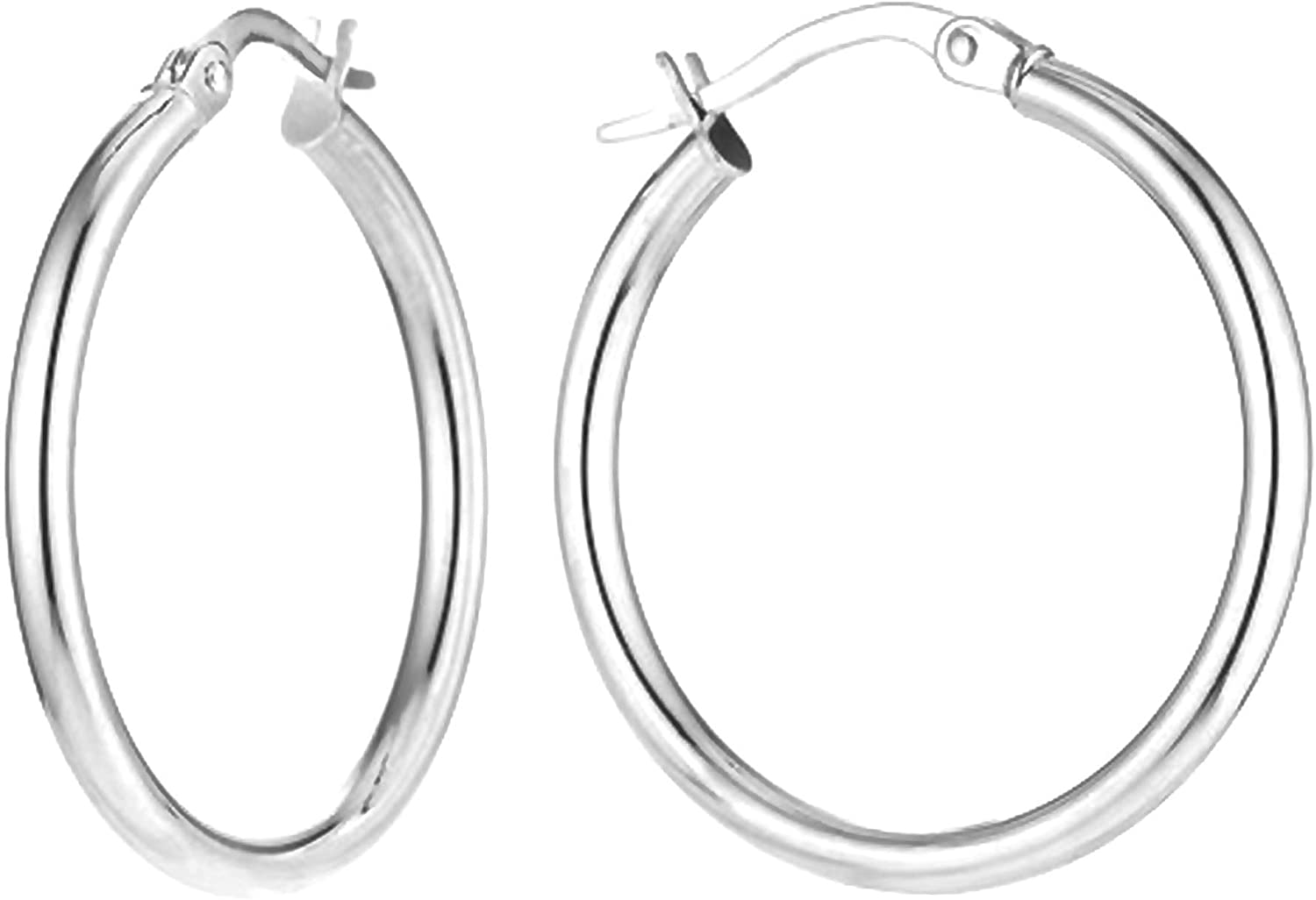 LeCalla Sterling Silver Jewelry 3 MM Tube Classic Italian Hoop Earring for Women
