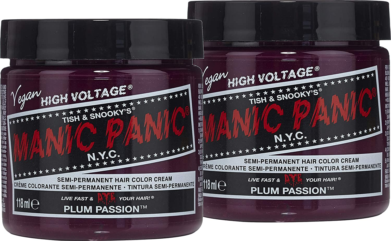 Manic Panic Plum Passion Hair Dye - Classic High Voltage - (2PK) Semi Permanent Hair Color - Purple Shade With Red Undertones - For Dark & Light Hair – Vegan, PPD & Ammonia-Free - For Coloring Hair