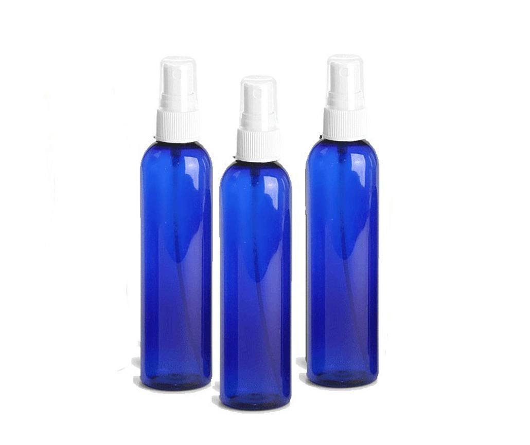 Grand Parfums 4oz Cobalt Blue Plastic Refillable PET Cosmo Spray Bottles (BPA-Free) with White Fine Mist Atomizer Caps (3-Pack); Beauty Care, Travel Use, Home Cleaning, DIY, Aromatherapy