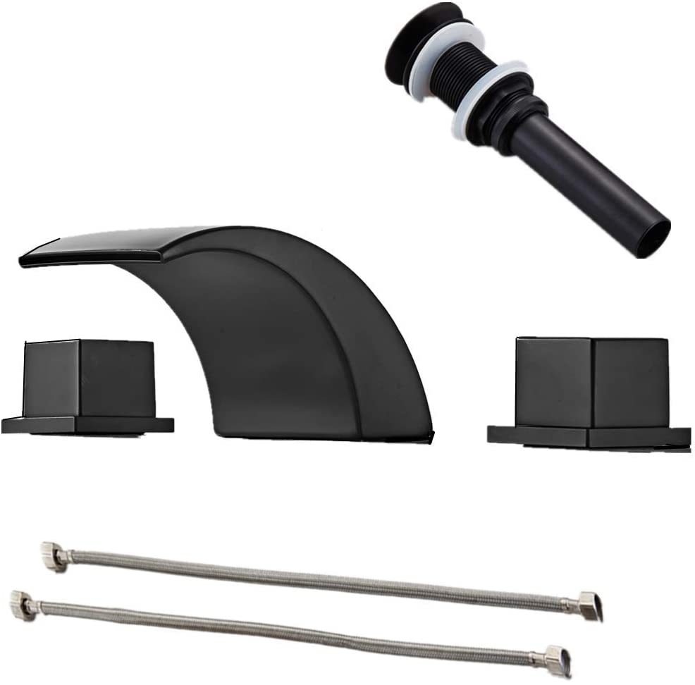 Gecious Black Widespread Bathroom Sink Faucet with Hoses, Three Holes Square Two Handles Square Knobs, Basin Mixer Tap with Pop Up Drain Fit 8''-16'' Hole Distance