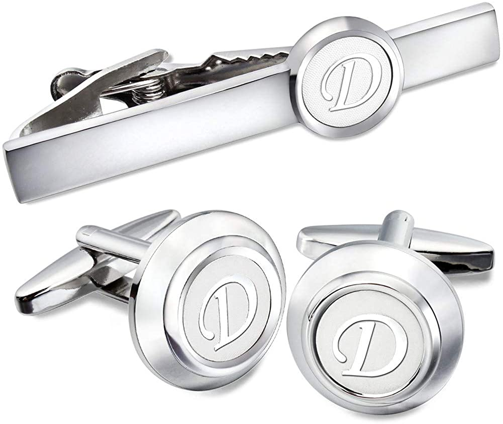 AMITER Mens Classic Cufflinks/Tie Clip/Cufflinks and Tie Clip Set for Men Silver Initials A-Z Formal Business Wedding Tuxedo Shirts