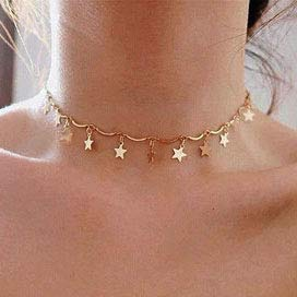 Artmiss Boho Star Choker Necklace Dainty Tassel Gold Necklace Jewelry Gift for Women and Girls (Gold)