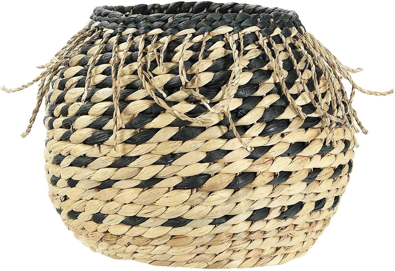 Bloomingville Handwoven Natural Water Hyacinth Braided Fringe Basket, Black