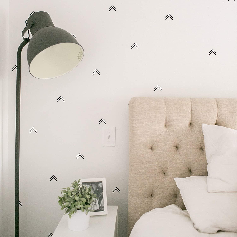 Modern Maxwell Wall Art Decals for Boys Girls Nursery, Bedroom, Living Room Archer Black Arrowheads Room Sticker Set 112 Pieces