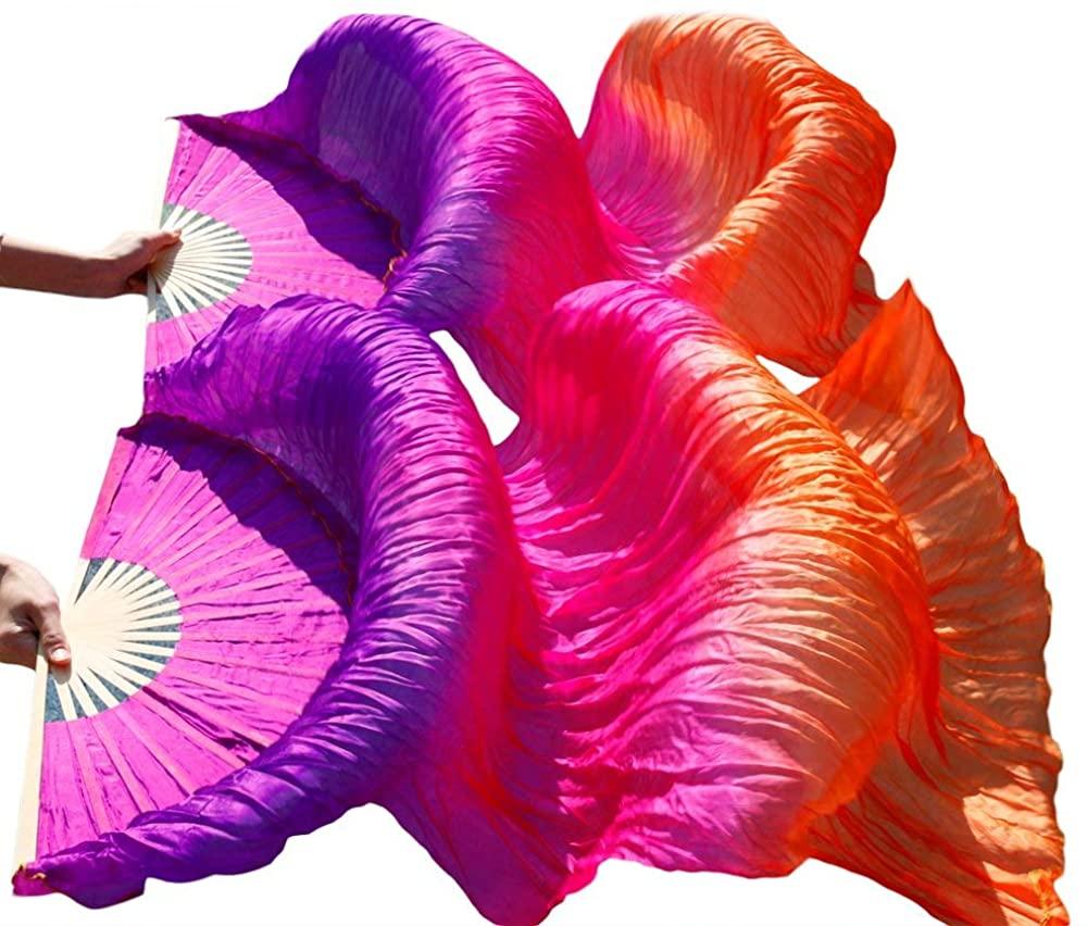 Nimiman Women Silk Belly Dance Fan veils 18090 cm Purple Rose Orange