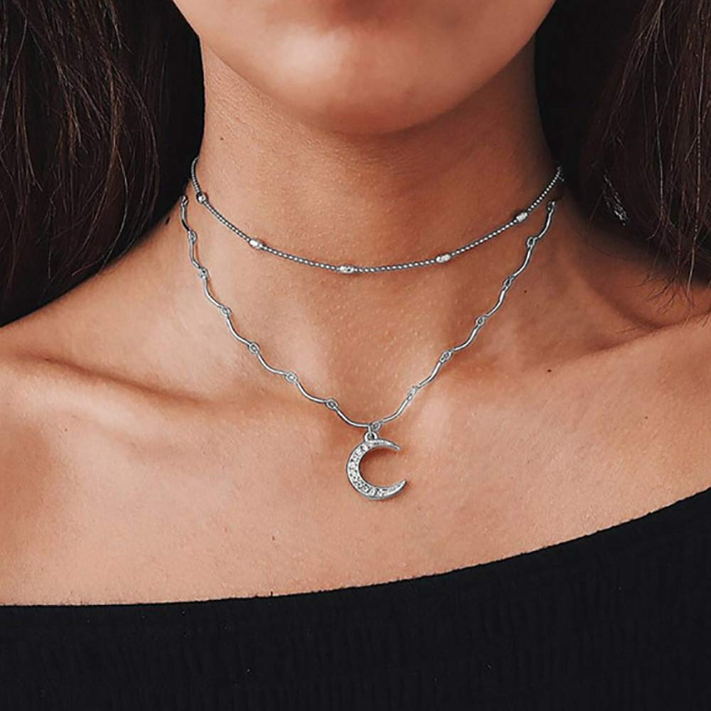 TseanYi Bohemian Layered Necklace Moon Pendant with Full Rhinestone Oval Bead Choker Fashion Clavicle Chain Boho Jewelry for Women and Girls (Silver)
