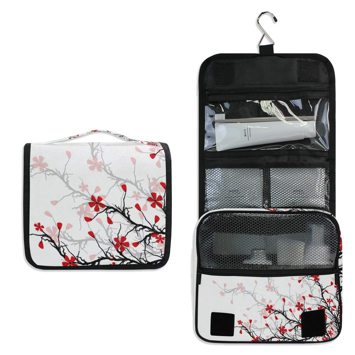 ALAZA Japanese Cherry Blossom Sakura Travel Toiletry Bag Hanging Multifunction Cosmetic Case Portable Makeup Pouch Organizer with Hook