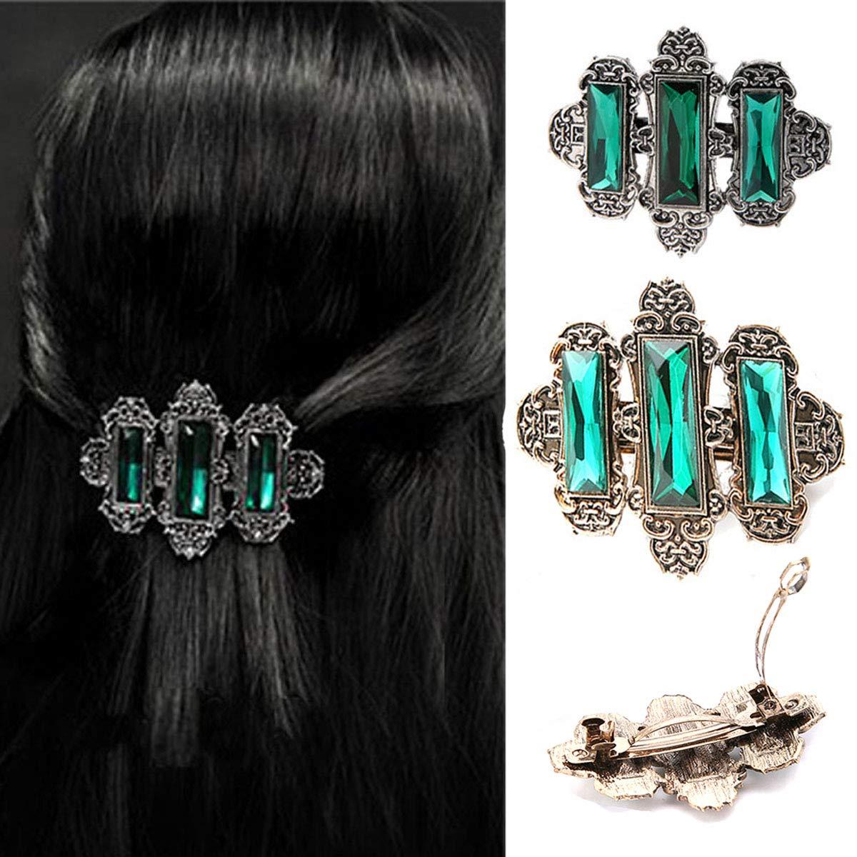 2PCS Women Lady Handmade Natural Crystal Hair Barrettes Metal Hair Pins French Styles Hair Barrettes Hair Clips Hair Accessory (Green)
