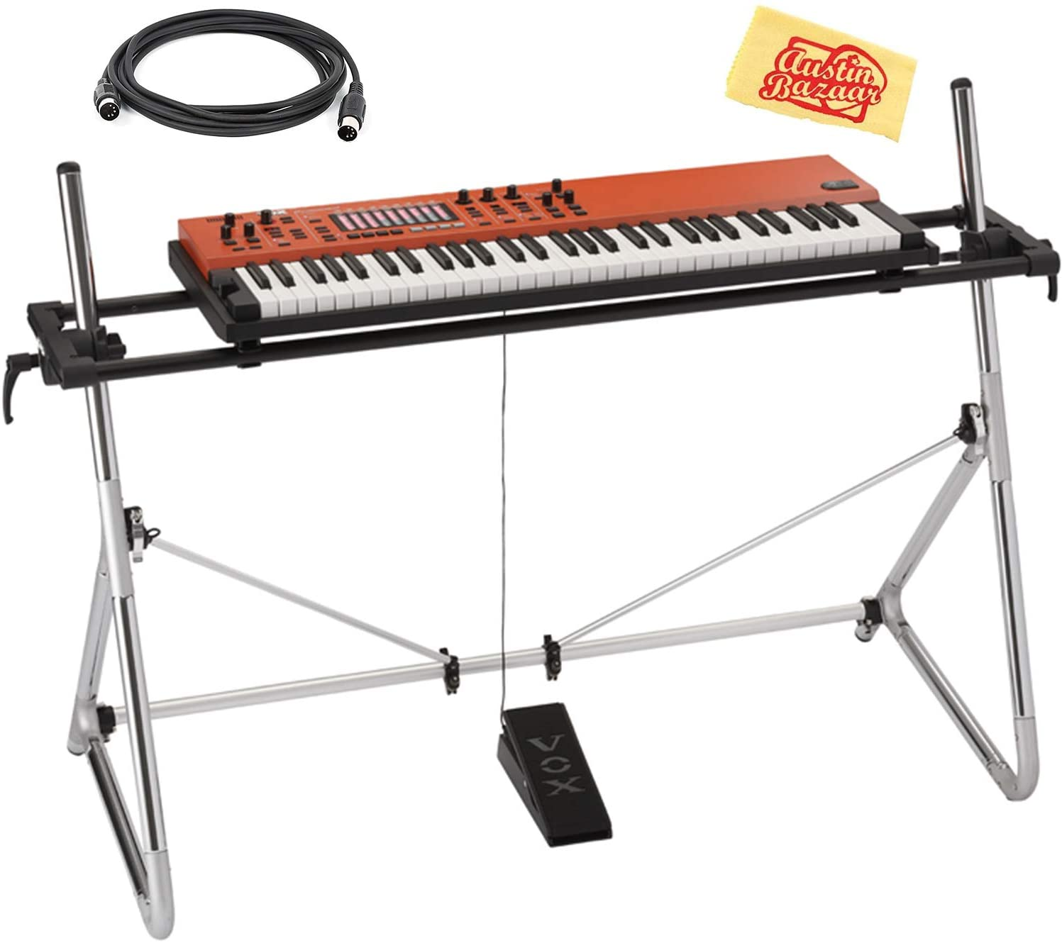Vox Continental 61-Key Performance Synthesizer Bundle with Stand, Midi Cable, Expression Pedal, Deluxe Sustain Pedal, Power Adapter, and Austin Bazaar Polishing Cloth