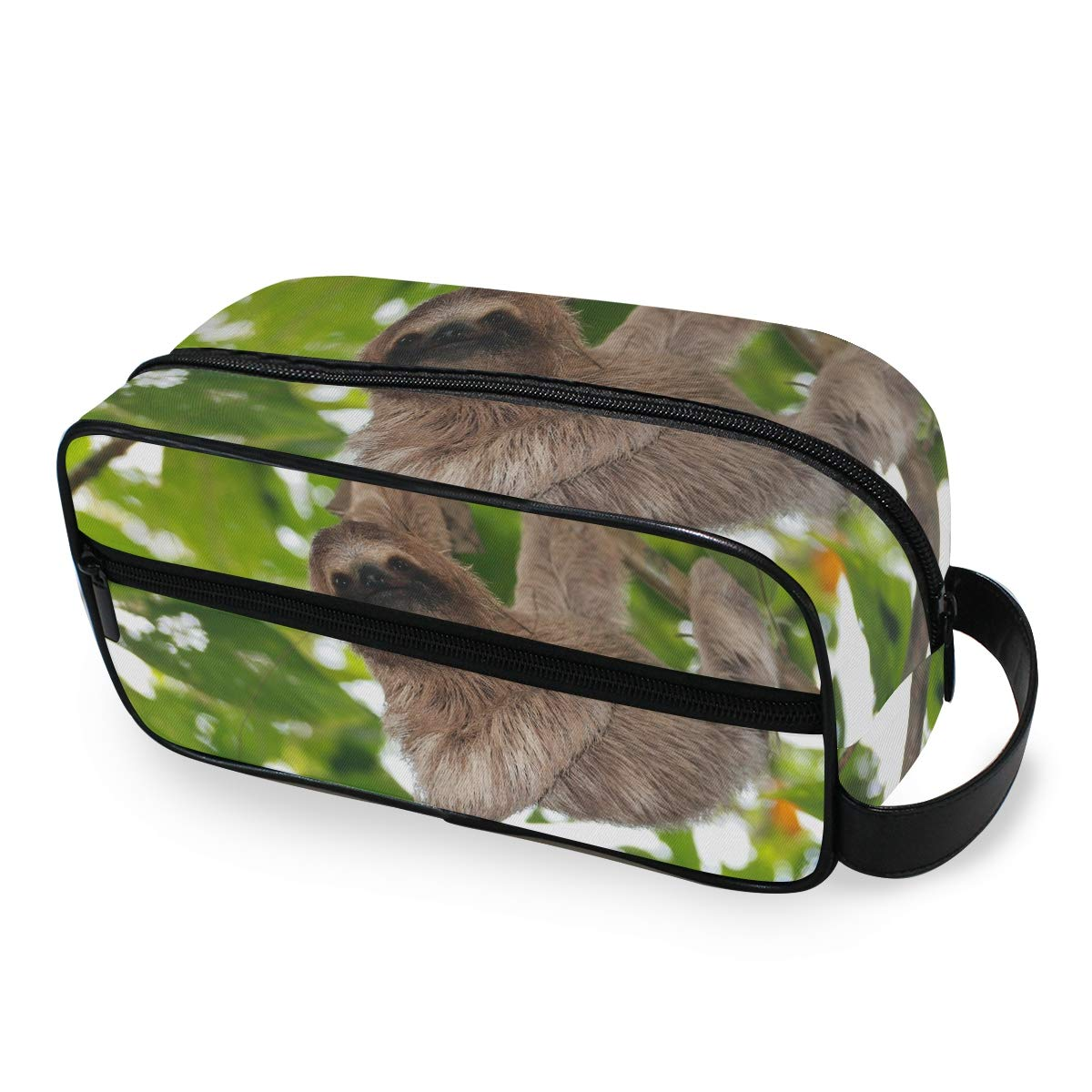 JOYPRINT Portable Travel Makeup Bag, Tree Animal Sloth Cosmetic Bag Toiletry Bag Pouch with Zipper Multifunction Cosmetic Case for Women Girls