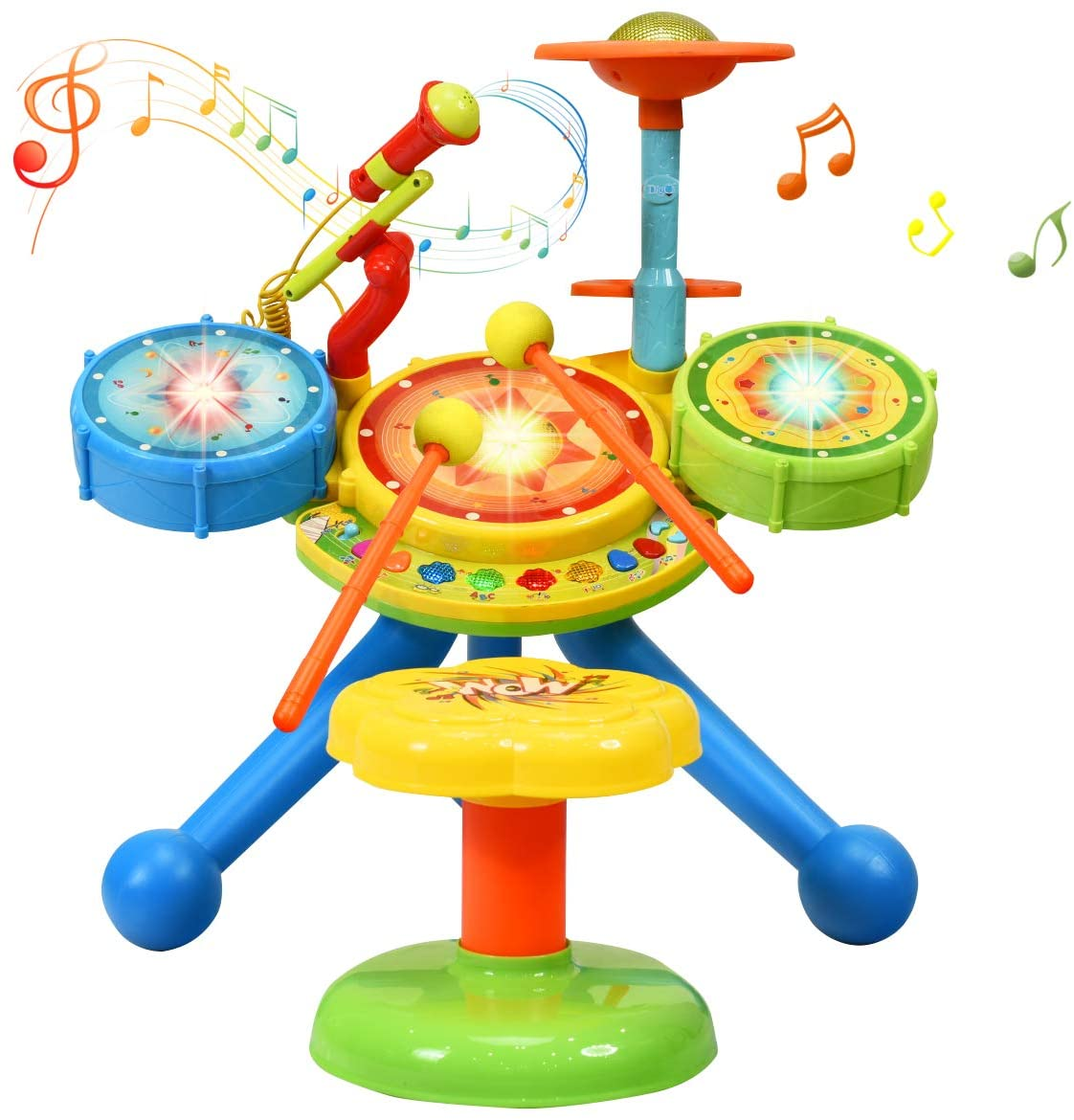 Costzon 2-in-1 Kids Electronic Musical Toy Drum Set, with Microphone and Chair, Spanish & English Bilingual Electronic Jazz Drum Set, Suitable for Kids, Babies (Multicolor)