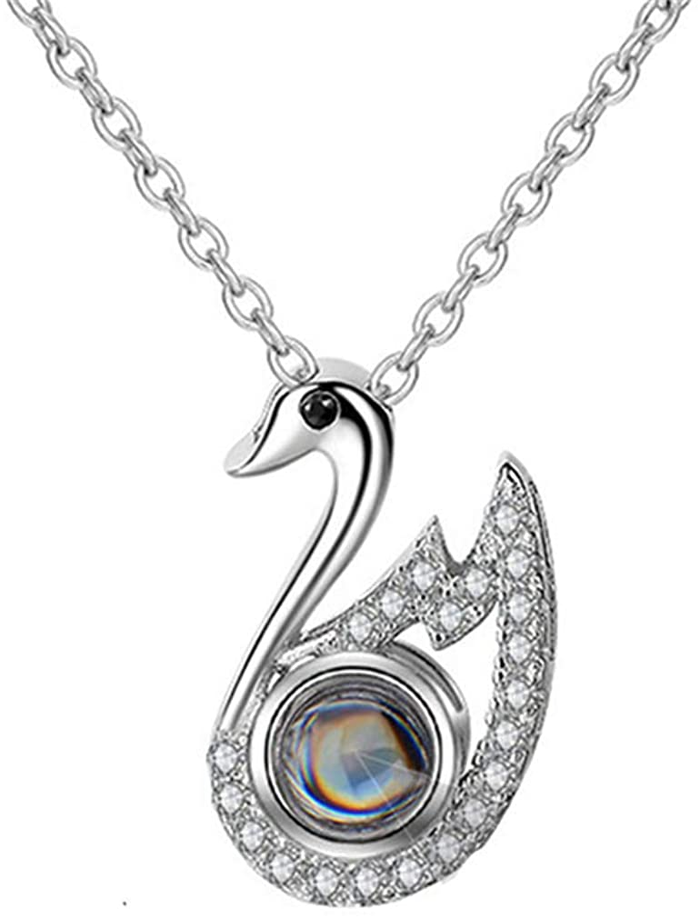 ZWSLY 925 Silver Swan Pendant 100 Languages I Love You Photo Necklace Personalized Custom Photo Necklace Women's Gift