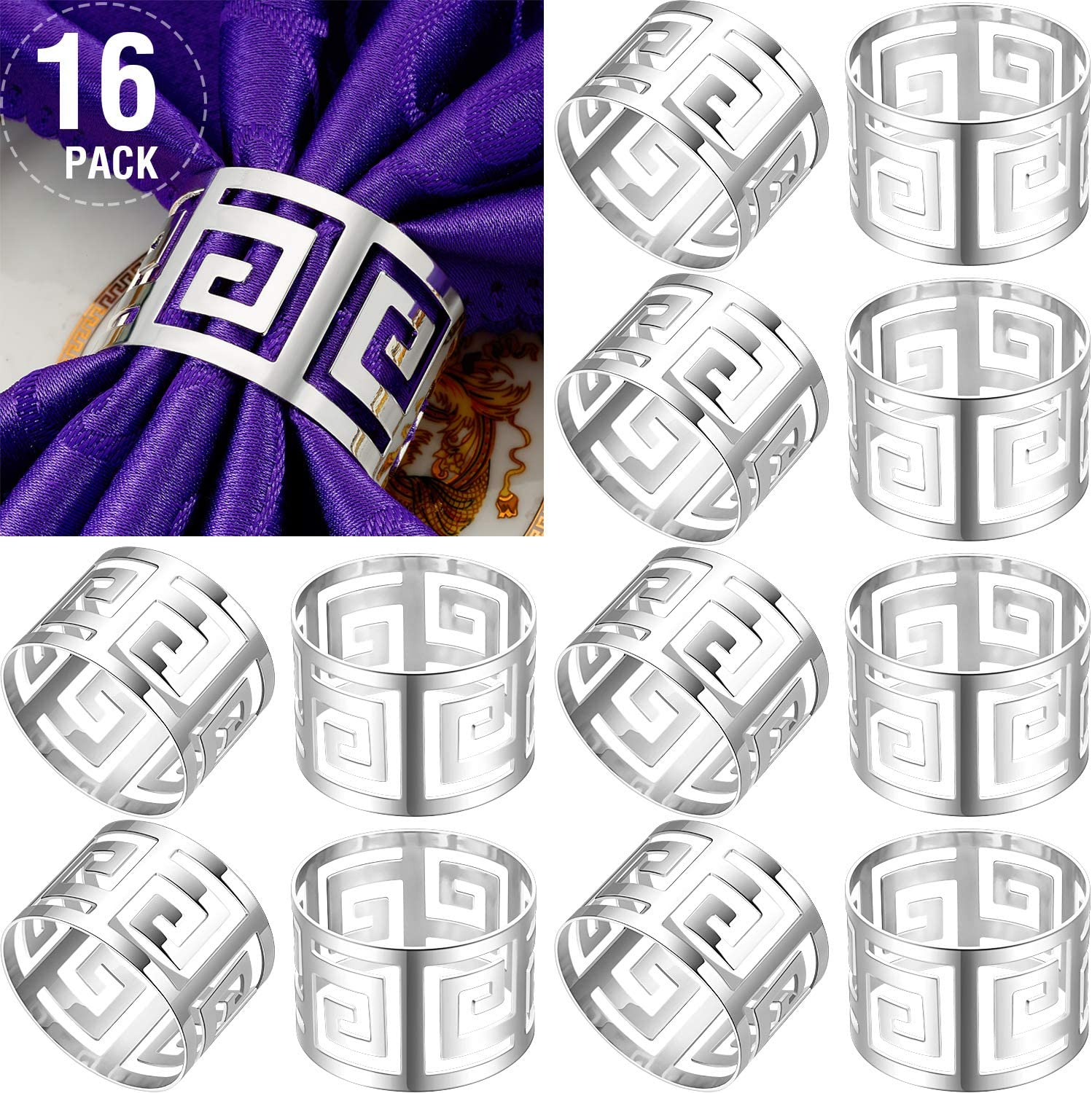 16 Packs Hollow Out Napkin Rings Holders Serviette Buckle Holder Exquisite Household Napkin Holder Adornment for Wedding Christmas Thanksgiving Party Dinner Table Decoration (Silver)