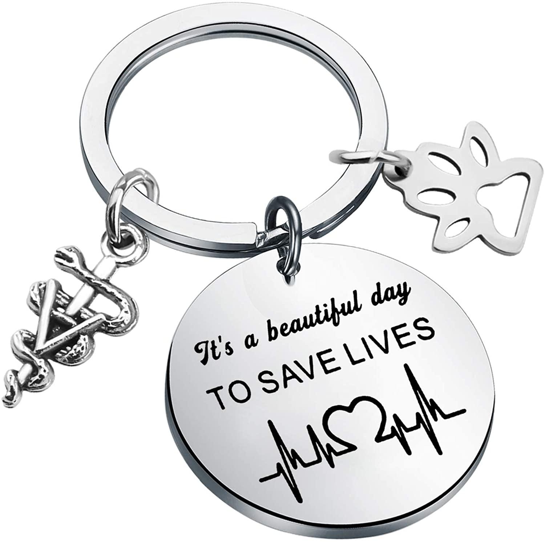 CHOORO Veterinarian Gift Vet Tech Gift Medical Veterinarian Caduceus Keychain It's a Beautiful Day to Save Lives Veterinary Medicine Graduation Gift