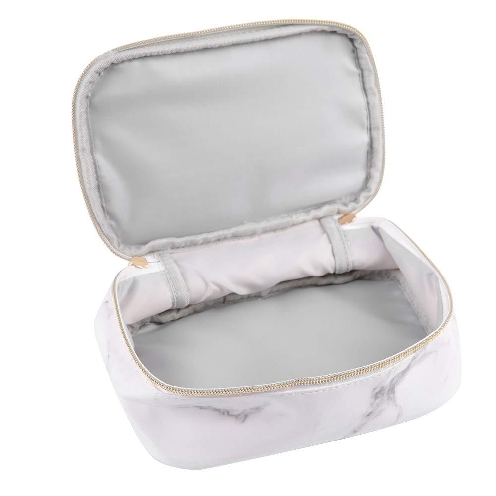 Portable Marble Print Brushes Bag, PU Leather Fashion Travel Makeup Handbag