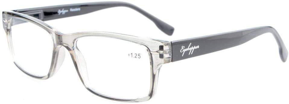 Eyekepper Readers Stylish Spring Hinges Reading Glasses Grey Frame +2.5