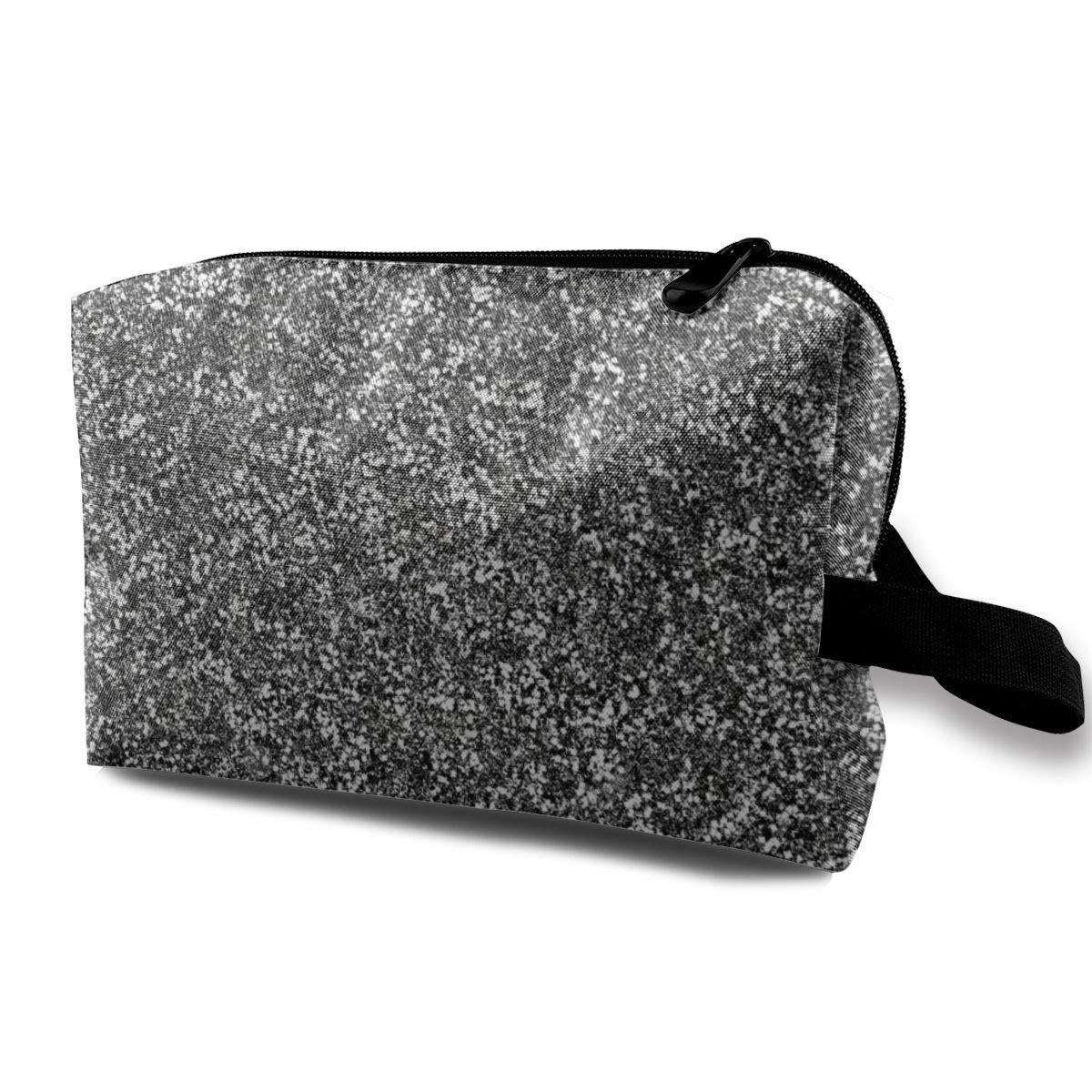 Makeup Bag Cosmetic Toiletry Travel Bag Silver Flake Glitter Organizer Pouch For Women Men