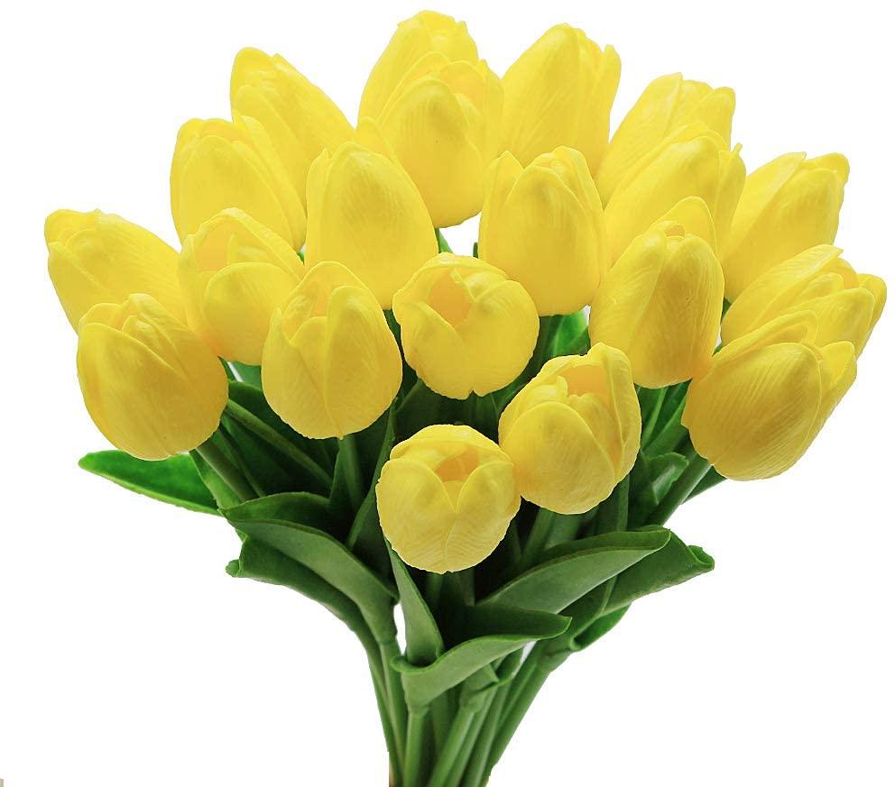 Palmhill Yellow Tulips Artificial Flowers, 20Pcs Yellow Artificial Tulips Flower Real Touch Fake Tulips for Wreath Floral Arrangement Centerpiece Wedding Bouquet Table Decoration Birthday 13.4