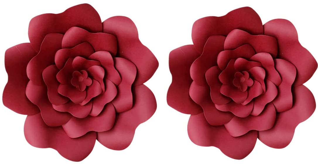 LG-Free 2pcs Paper Flower Decroations 3D Paper Flower DIY Handcrafted Flowers Wedding Party Backdrop Flowers Wall Backdrop Flower for Birthday Table Baby Shower Home Decor (8inch, Burgundy)