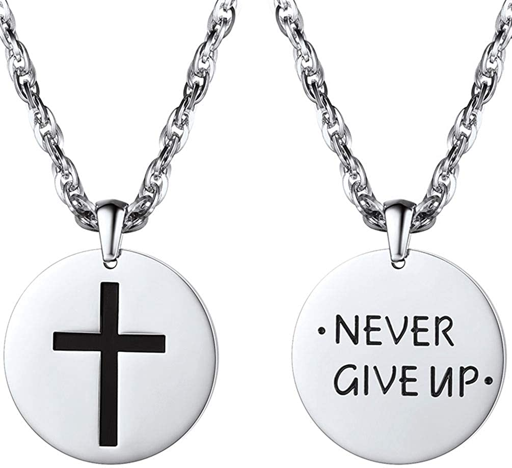 PROSTEEL Cross Disc Necklace, Stainless Steel Inspirational Necklace for Men Women, 22