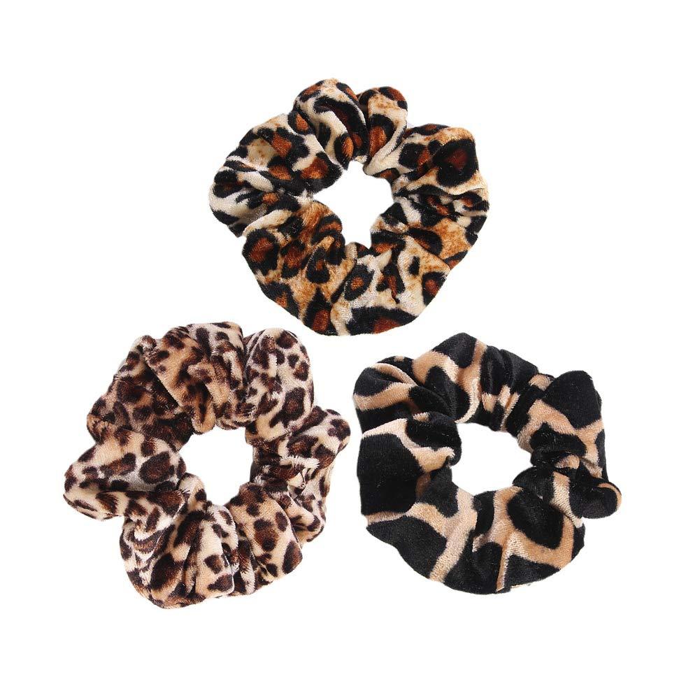Yantu Velvet Leopard Print Hair Elastics Hair Ties Set Scrunchy Hair Bands Hair Ties Ropes Scrunchies Pack of 3 Pcs for Girls Hair Accessories (style 4)