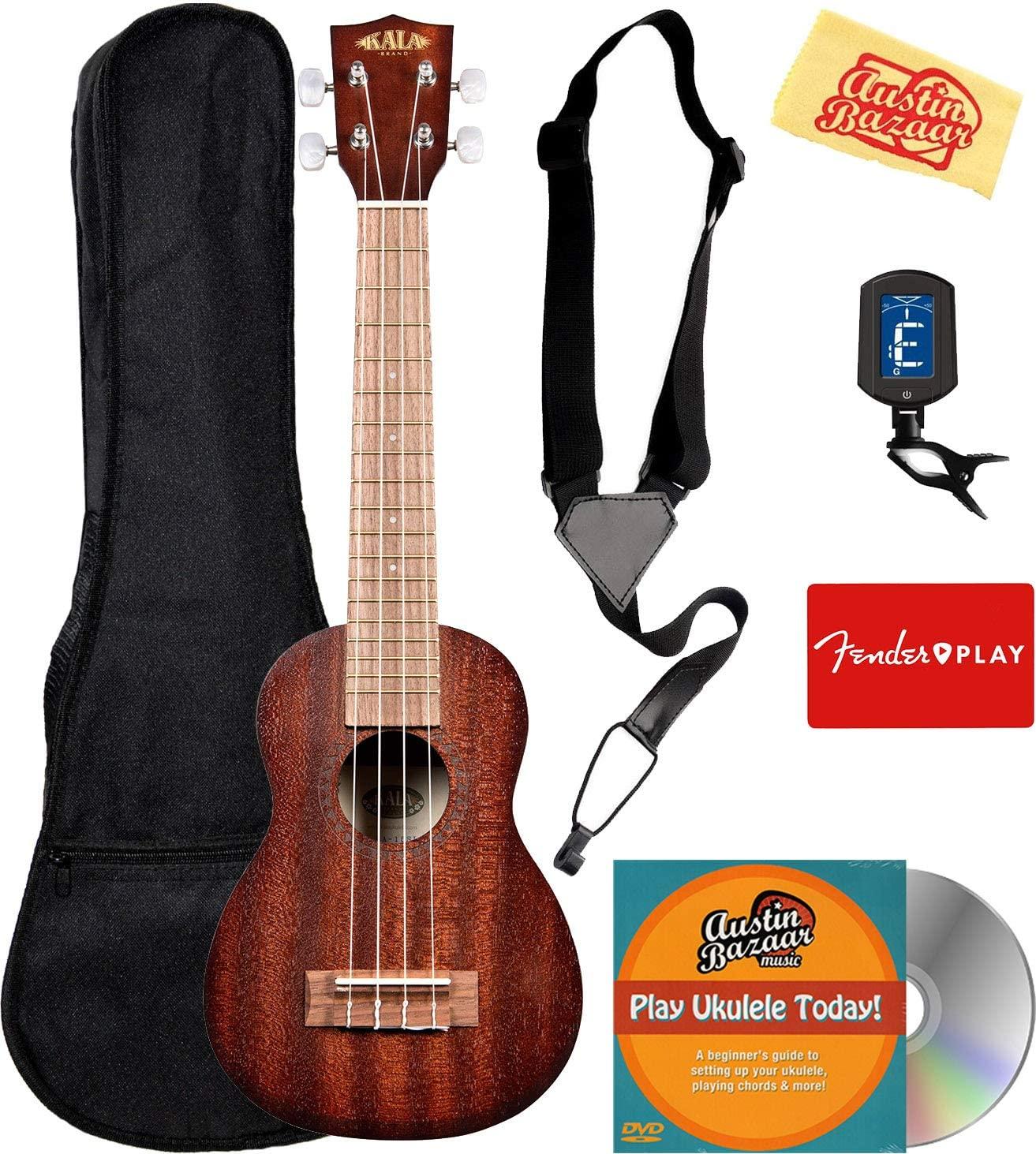 Kala KA-15SLNG Satin Mahogany Long Neck Soprano Ukulele Bundle with Gig Bag, Tuner, Strap, Fender Play Online Lessons, Austin Bazaar Instructional DVD, and Polishing Cloth