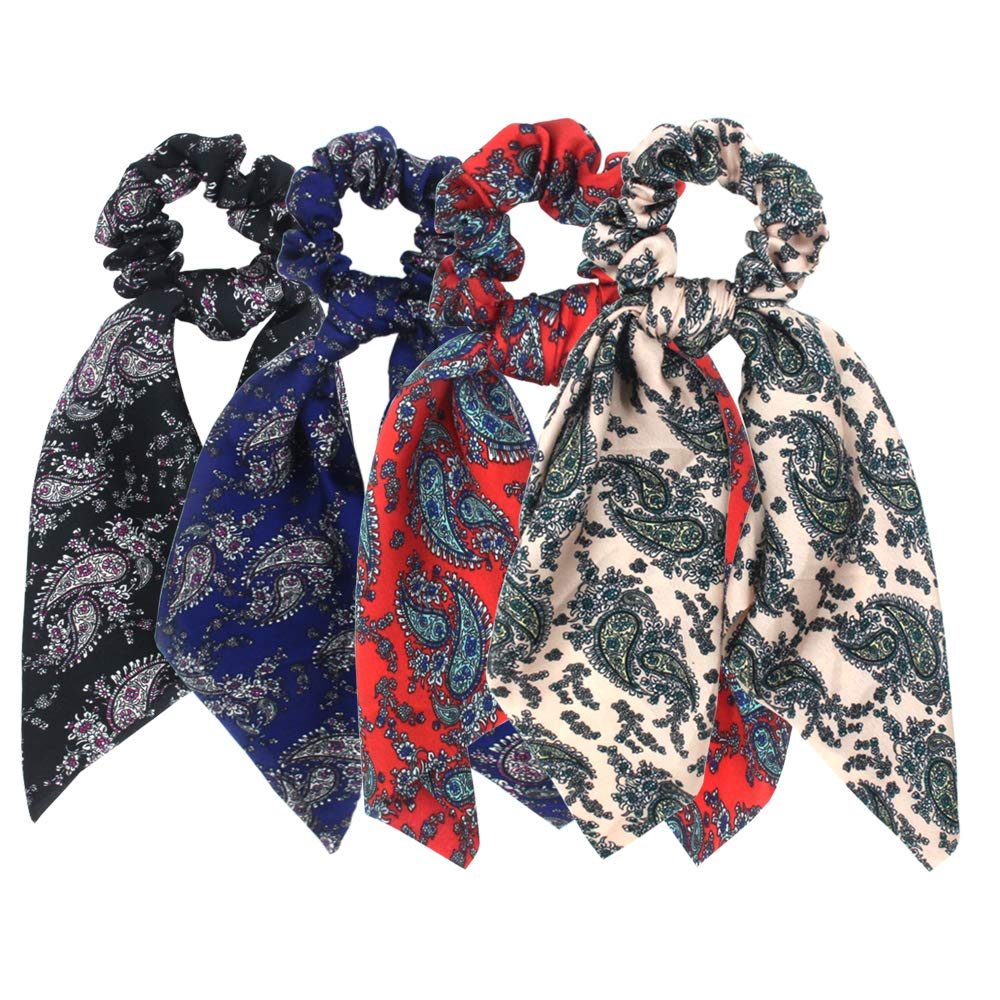 Paisley Hair Scrunchies Scarf Elastic Hair Ties Satin Headband with Knotted Ribbon Ponytail Holder for Women Headwrap Accessories Pack of 4pcs