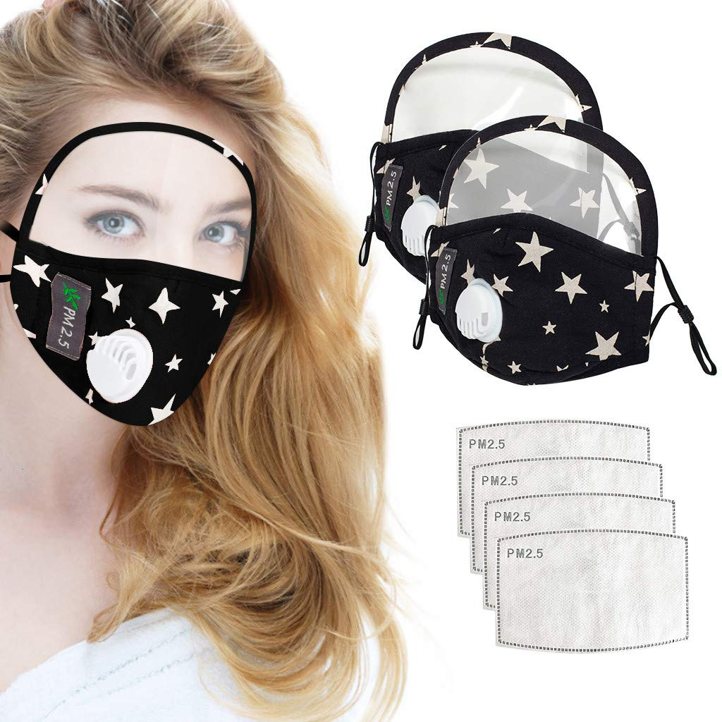 【USA In Stock Fast Delivery】Reusable Washable 1/2PC Adult Face Shields and 2/4PC Gasket,for Indoor and Outdoor Use (2PC Face Shields+4PC Gasket, Black)