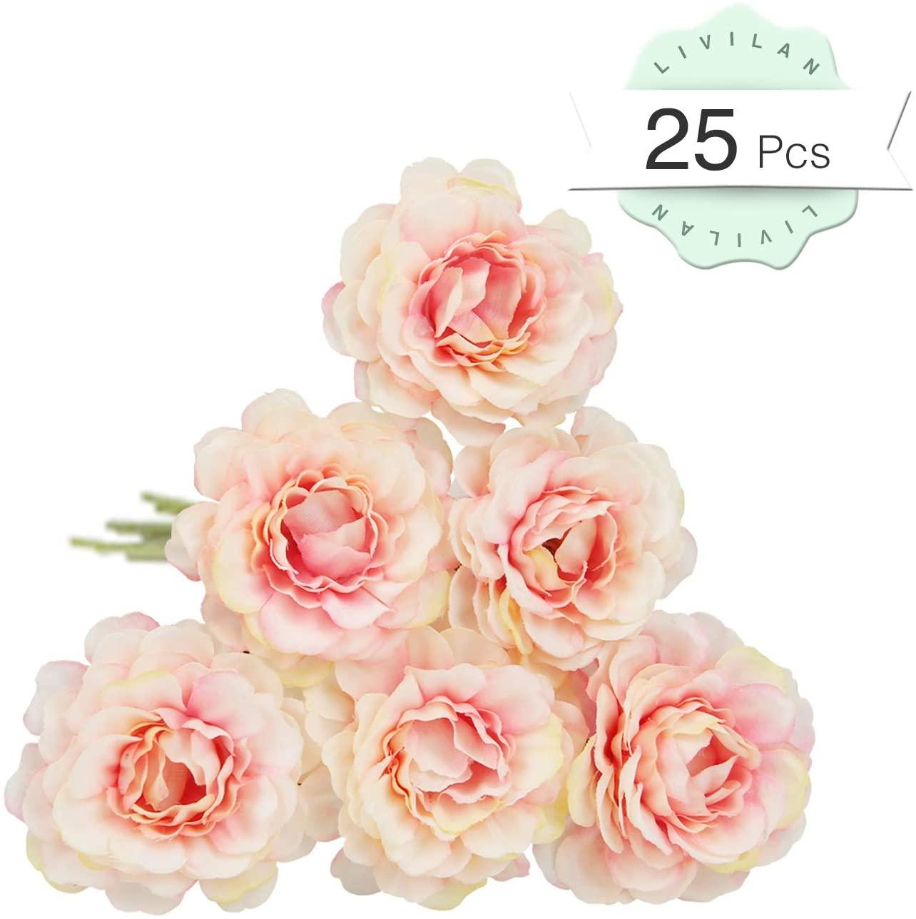 LIVILAN 25pcs Artificial Azalea Flowers, Silk Fake Flowers, Bridesmaid Bridal Bouquets, Home Decoration DIY Wedding Party Vivid Lifelike Pink