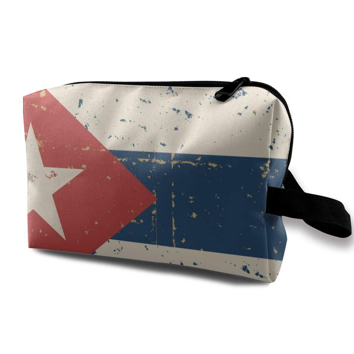 Students Super Large Capacity Canvas Pencil Case Pen Bag Pouch Stationary Case Makeup Cosmetic Bag (Retro Cuban Flag)