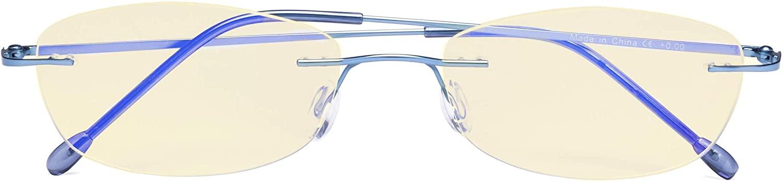CessBlu Ladies Blue Light Blocking Glasses Anti Glare UV with Yellow Filter Eyeglasses for Women Reading Screen Rimless