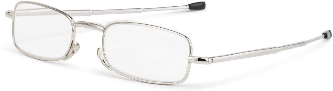 Folding Reading Silver Tone +1.50 Stainless Steel and Acrylic Glasses with Case