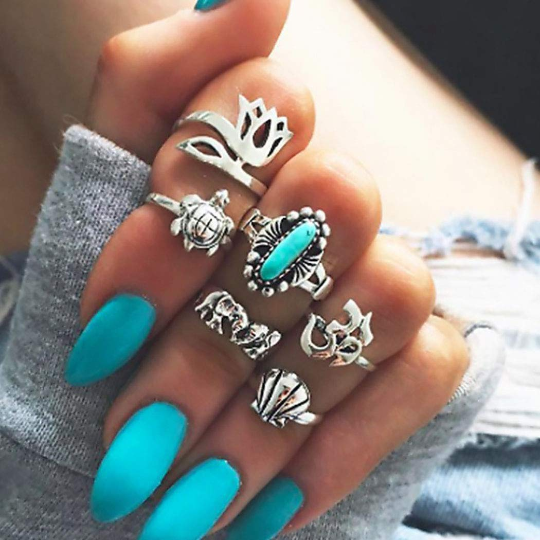 ELABEST Boho Turquoise Knuckle Rings Silver Gem Flower Elephant Tortoise Joint Knuckle Rings Sets Midi Ring Set for Women and Girls(6 Pcs)