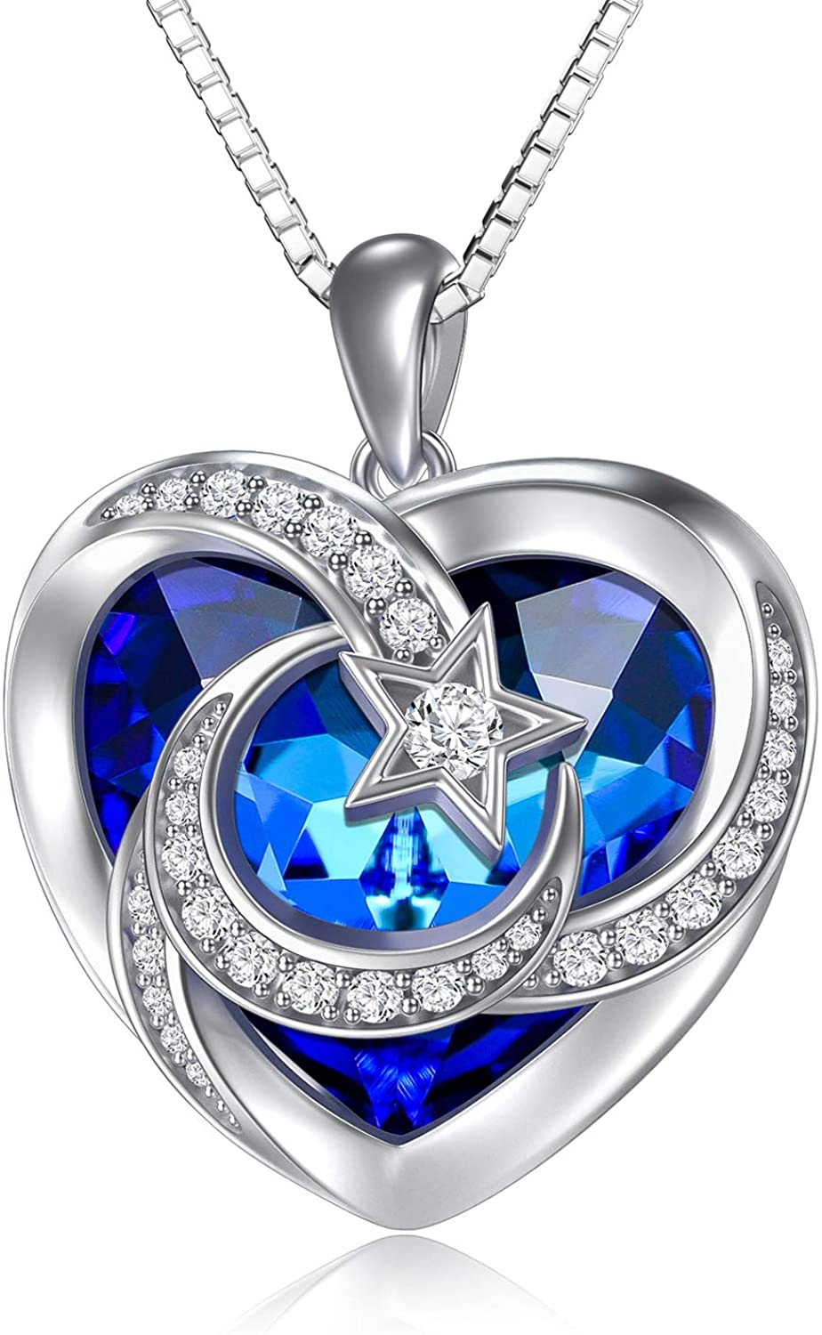 TOUPOP s925 Sterling Silver Moon and Star Heart Pendant Necklace with Blue/Purple Heart Crystal Jewelry Gifts for Women Teen Girls Birthday Christmas