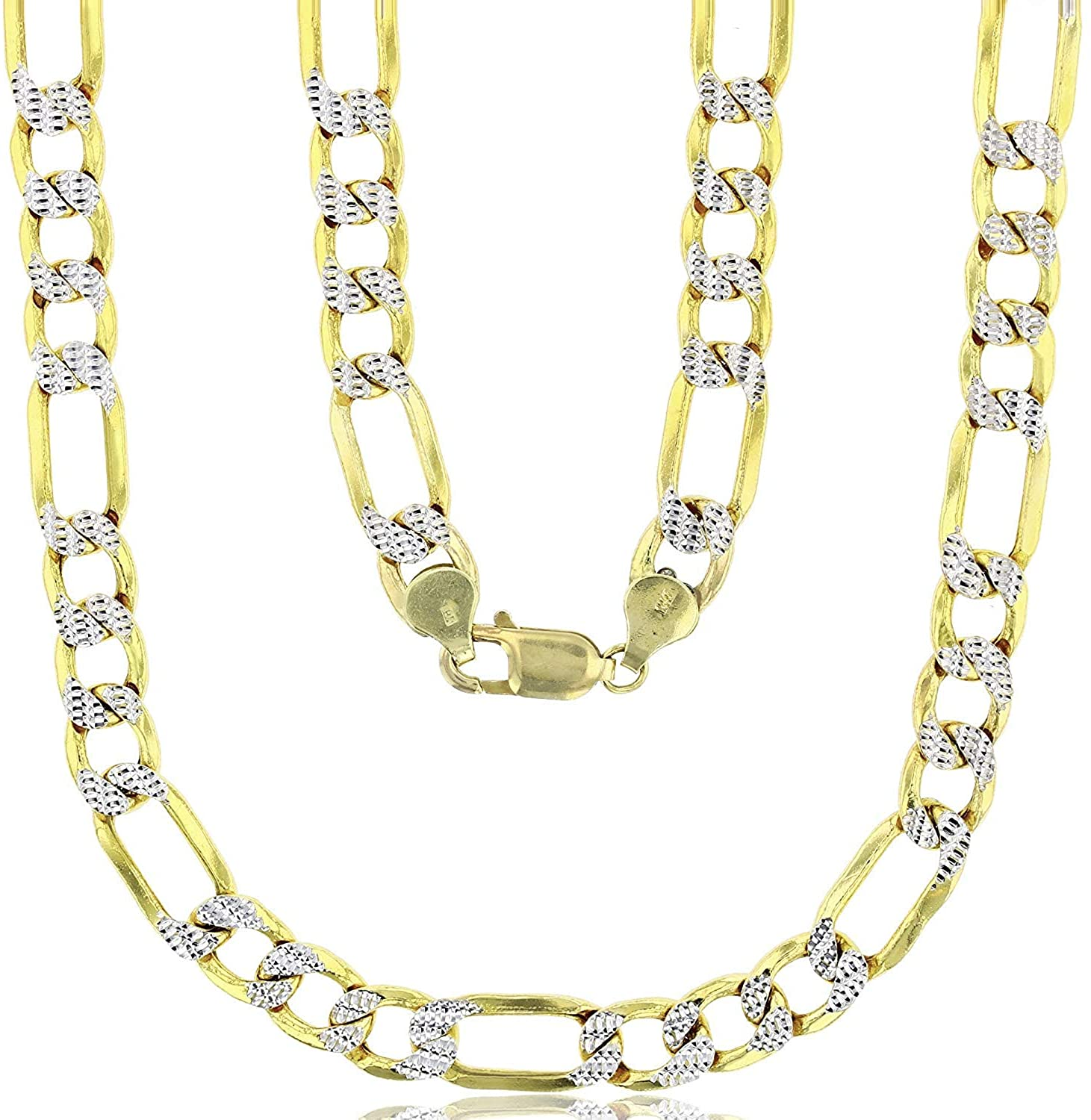 14k Two Tone Gold Solid 9.10mm Figaro Chain with Lobster Claw Clasp | 8.50