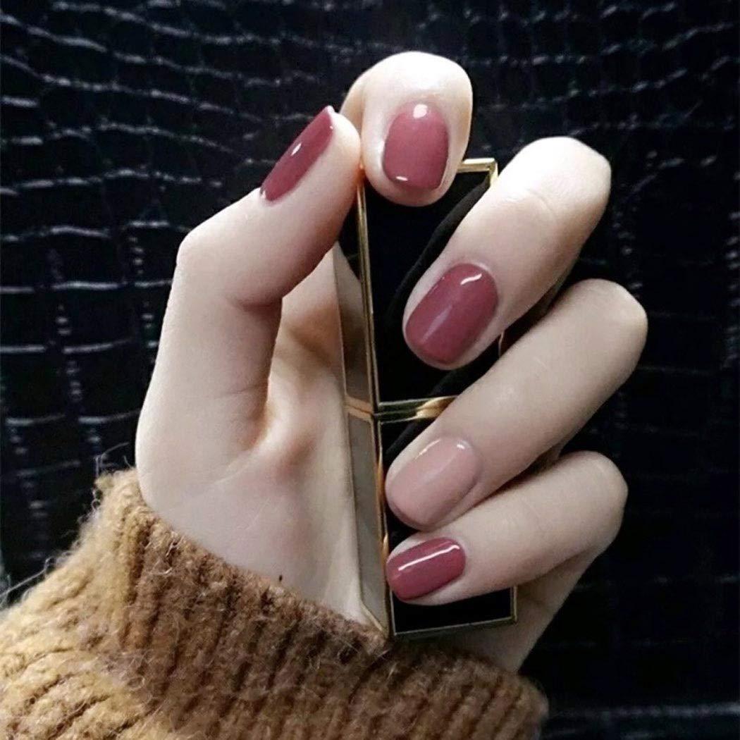 Awanka Square Press on Nails Pink Short Fake Nails Glossy Full Cover Acrylic False Nails for Women and Girls (24Pcs)