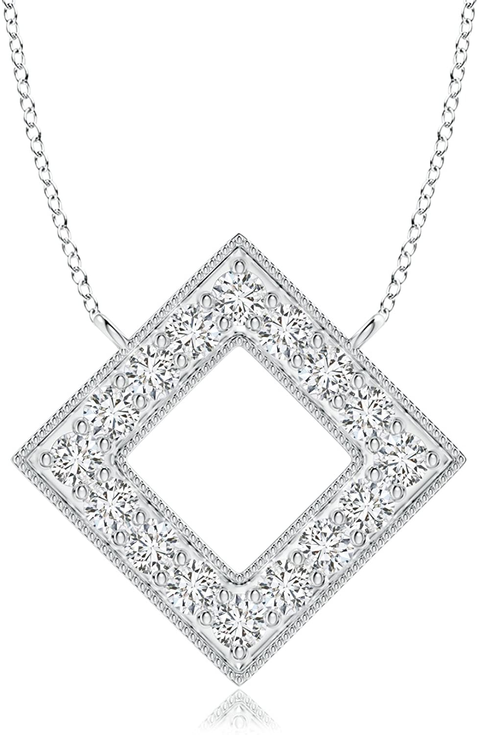 Lab Grown Diamond Geometric Square Necklace in 14k Solid Gold 18