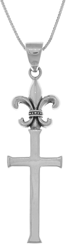 Jewelry Trends Long Fleur De Lis Cross Sterling Silver Pendant Necklace 18