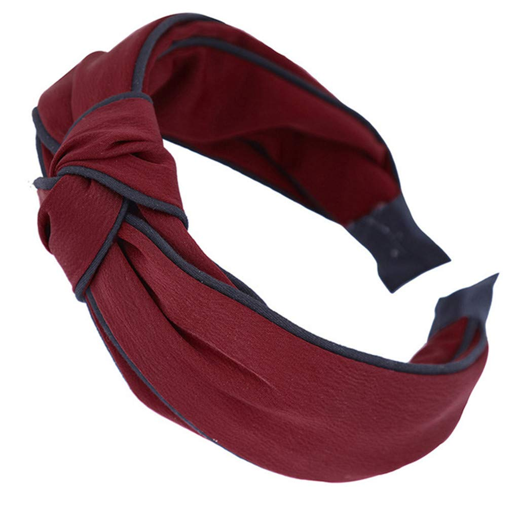 Headbands for Women - 1Pcs Hair Hoops with Cross Knot Hairbands with Cloth Wrapped Headwear Styling Tools Accessories for Washing Face Spa Mask Shower,Red