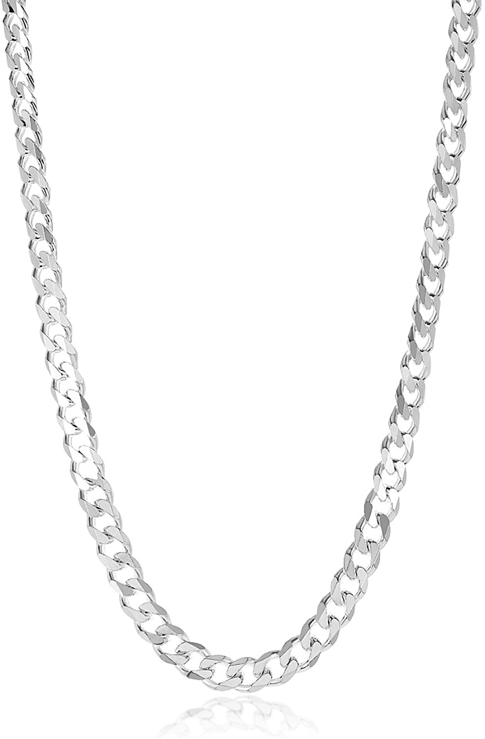 7.5mm High-Polished .925 Sterling Silver Flat Cuban Link Curb Chain Necklace, 28 inches + Jewelry Cloth & Pouch