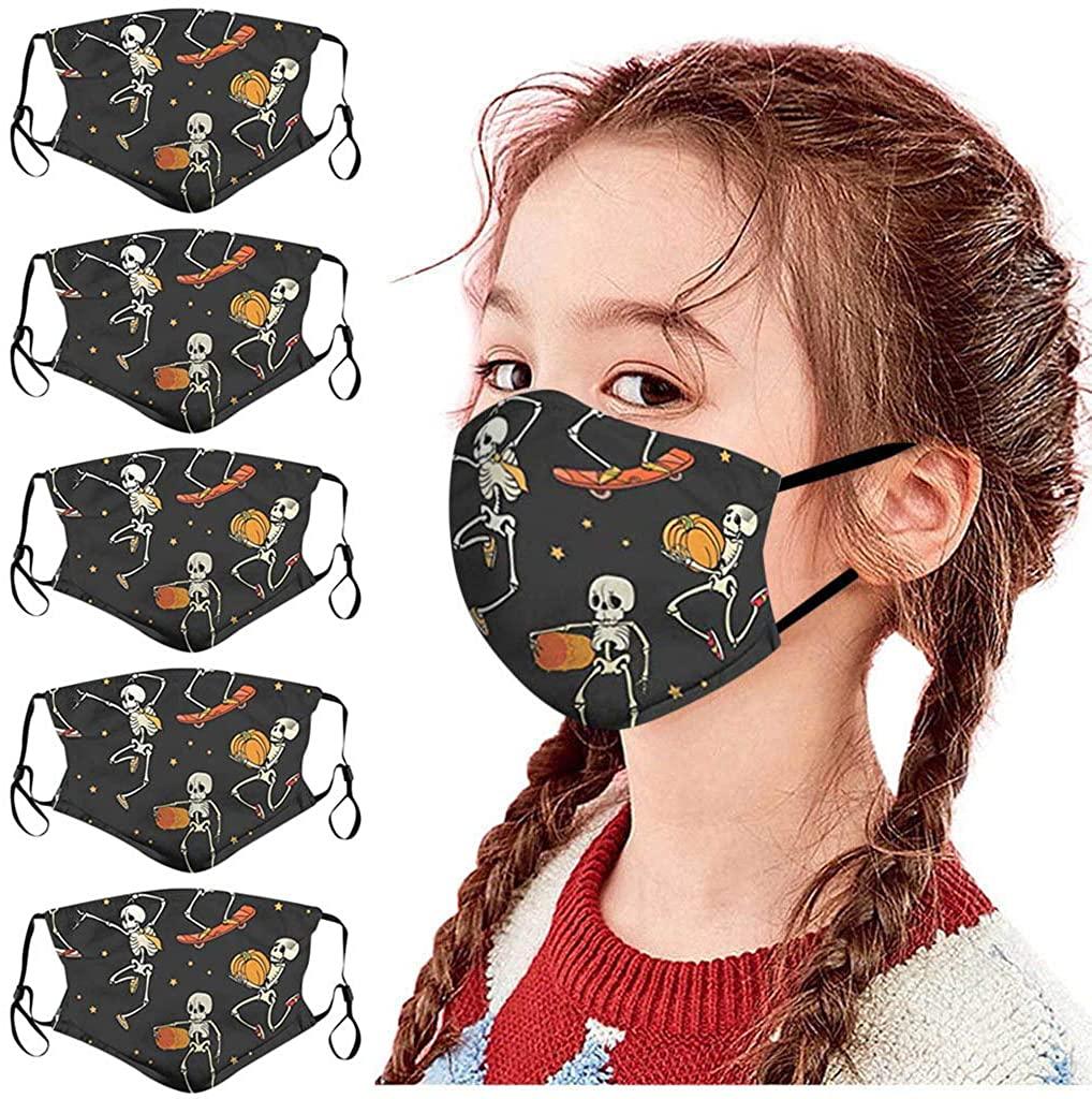 SGASY 5pcs Kids Cartoon Animals Printed Face màsc Bandanas Washable Reusable Face Cotton for Children