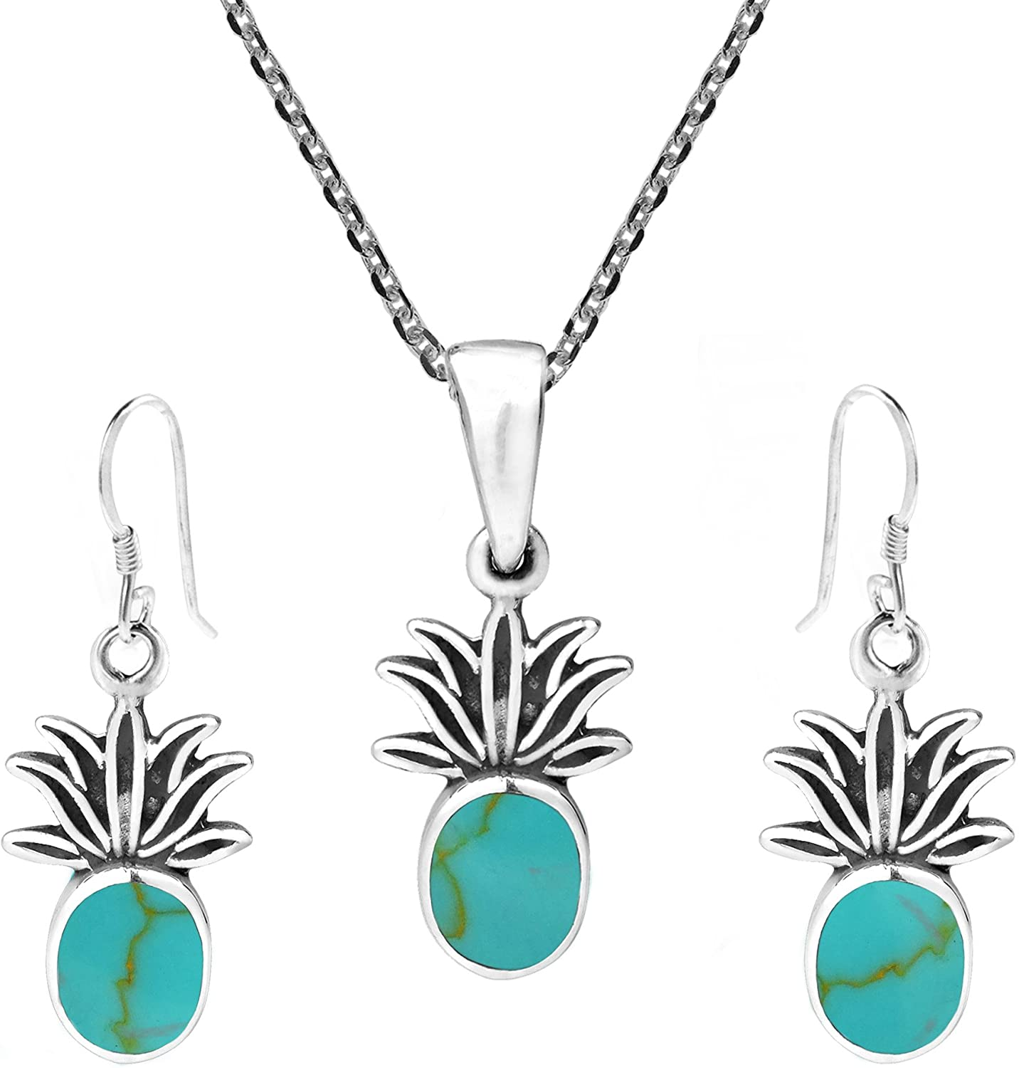 AeraVida Tropical Pineapple Simulated Turquoise Inlay .925 Sterling Silver Necklace Earrings Set