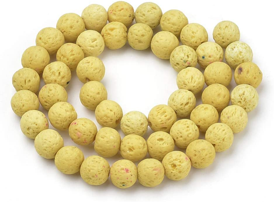 LiQunSweet 40 Pcs Natural Lava Rock Stones Lavastone Dyed Yellow Beads Strands Round Ball Loose Gemstones Beads Bulk for Jewellery Making DIY Crafting Findings - 10mm