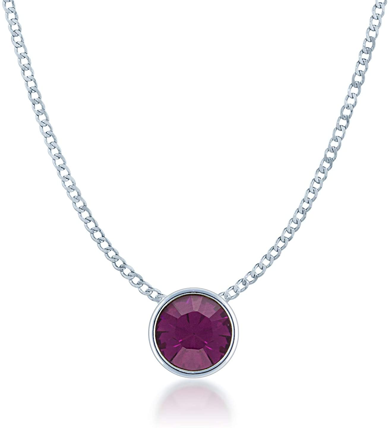 Ed Heart Womens Small Pendant Necklace with Round Crystals from Swarovski