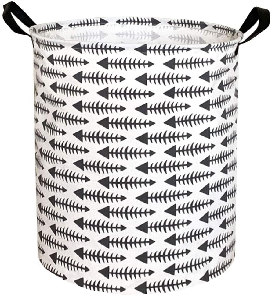 Sanjiaofen Large Storage Bins,Canvas Fabric Laundry Basket Collapsible Storage Baskets for Home,Office,Toy Organizer,Home Decor (Grey Fishbone Arrow)