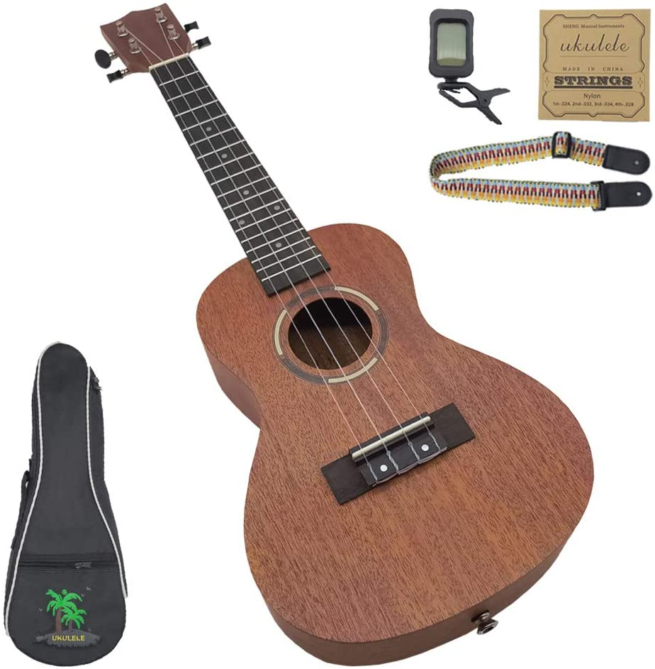 Concert Beginners Ukulele 4-strings Guitar Classical Mahogany Ukalalee With Ukele Bag,nylon String Ddjust Strap For Gift,kids,adults (concert)