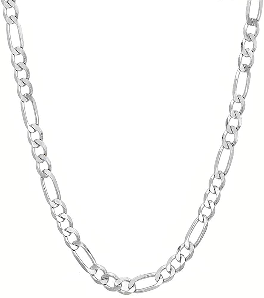 Savlano 925 Sterling Silver 6.5mm Italian Solid Figaro Link Chain Necklace With Gift Box For Men & Women - Made in Italy
